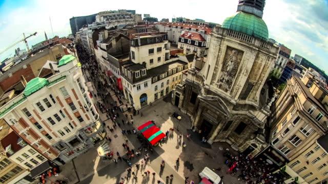 City Pedestrian Traffic Time Lapse Brussels Cityscape Fisheye video