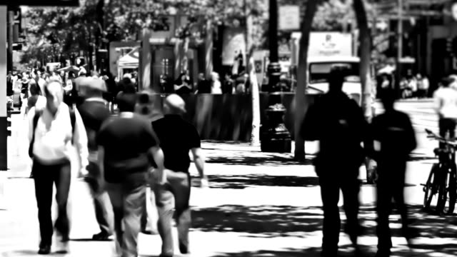 City Pedestrian Traffic Time Lapse BW video