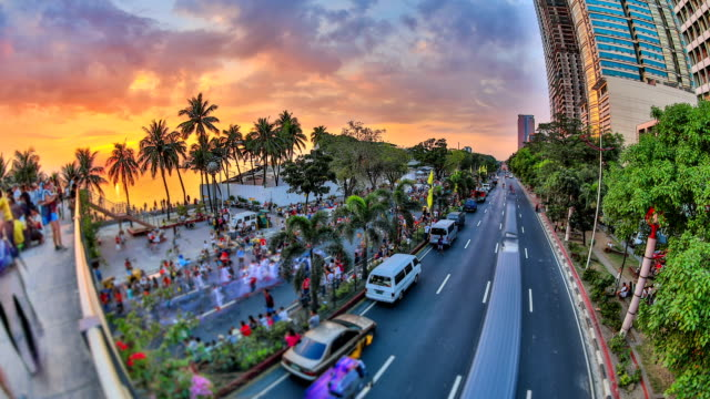 City Pedestrian Traffic Time Lapse Manila HDR video