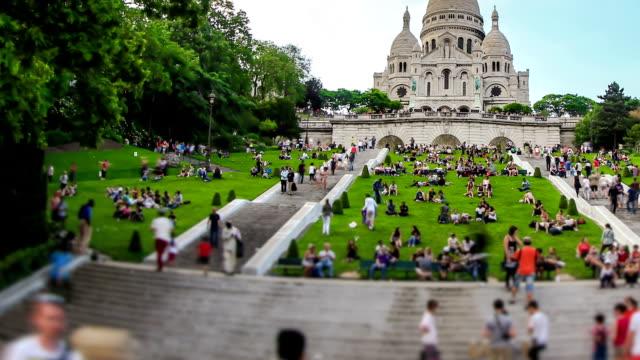 City Pedestrian Traffic Time Lapse Paris Fisheye Pan video