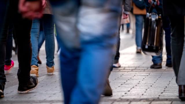 City People Walking In Shopping Street Slow Motion video