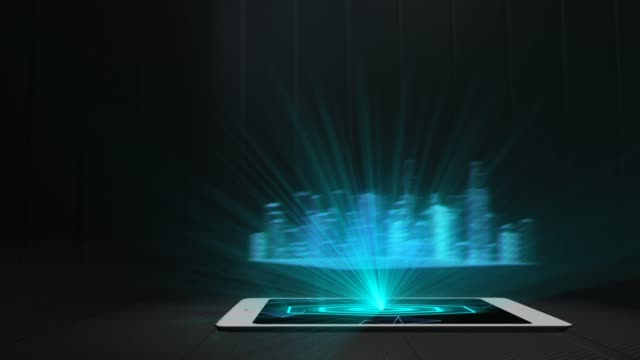 City Projection Futuristic Holographic Display Phone Tablet Hologram