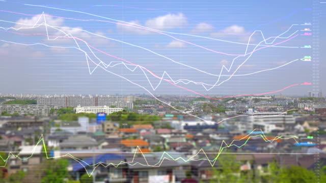 vídeos y material grabado en eventos de stock de horizonte de la ciudad y tablas y gráficos - propiedad inmobiliaria