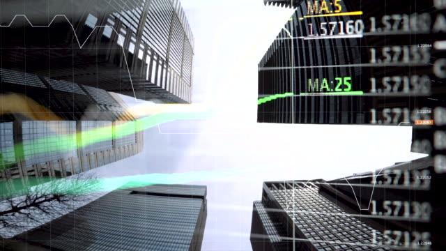 vidéos et rushes de toits de la ville et des diagrammes et des graphiques - marché établissement commercial