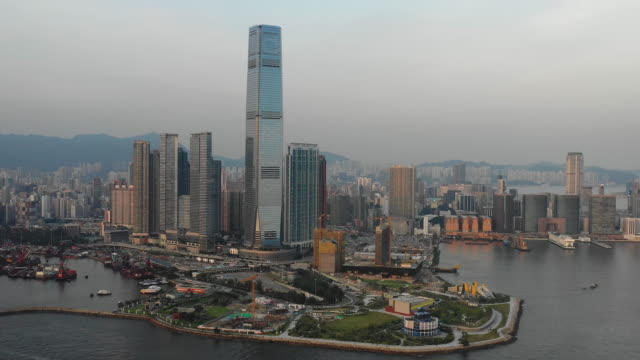 City skyline business building and financial district, Aerial top view Hong Kong City