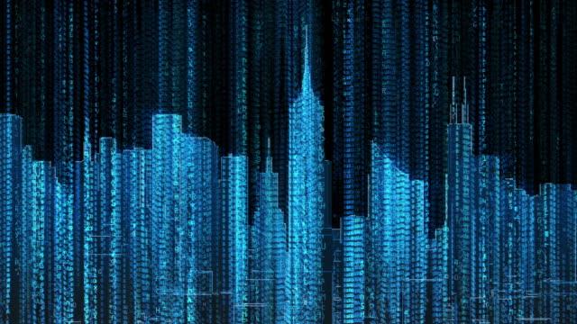 街並みのコンピューターデータコードフライ眼窩(ループ - スーパーコンピューター点の映像素材/bロール