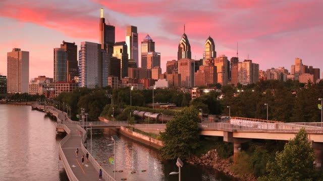 City skyline view of Philadelphia Pennsylvania at night