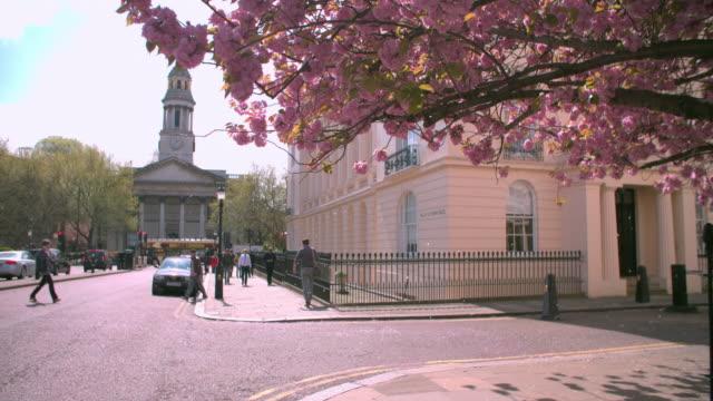 City street corner in spring, Marylebone, London video
