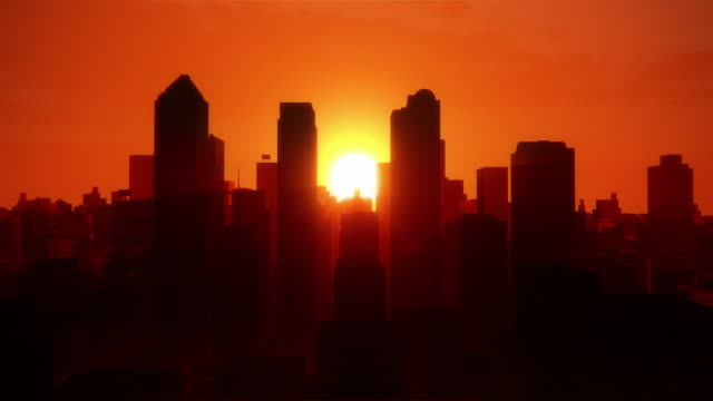 City sunrise from plane video