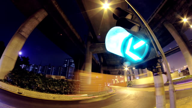 City Timelapse at Night. Traffic Light Flashing. video