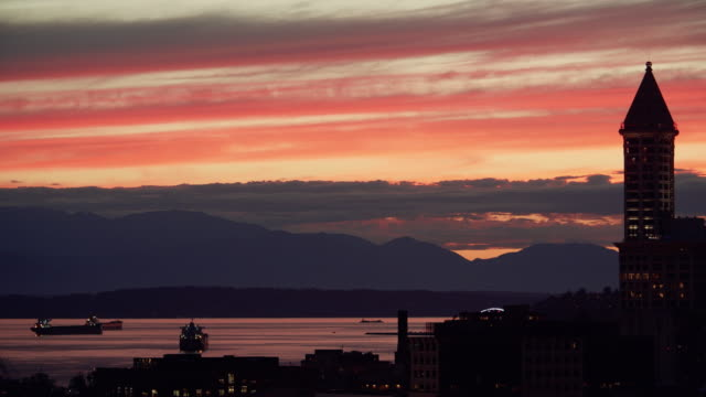 City Tower Skyline Silhouette with Sunset on Waterfront Mountain View