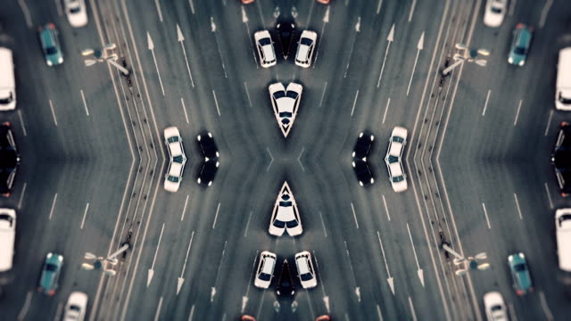City Traffic. Aerial Background. Mirror Effect