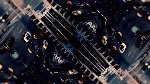 市交通。空中背景。ミラー効果 - シュールレアリズム点の映像素材/bロール