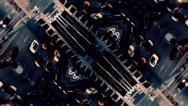 vídeos de stock e filmes b-roll de city traffic. aerial background. mirror effect - surrealismo