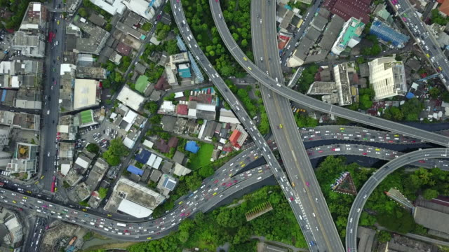 4K : city traffic aerial Highway video