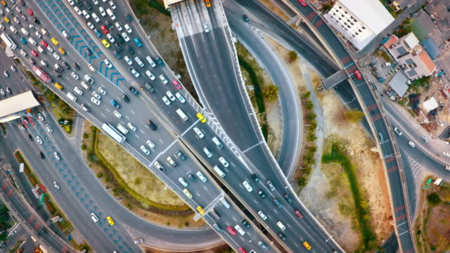 City traffic from above , Aerial video
