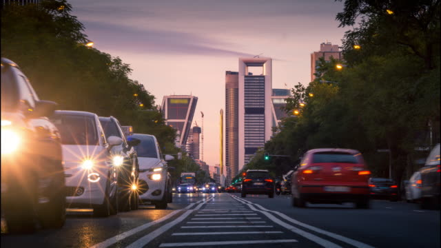 city traffic in madrid - madrid video stock e b–roll
