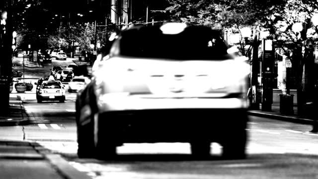 CIty Traffic Time Lapse BW video