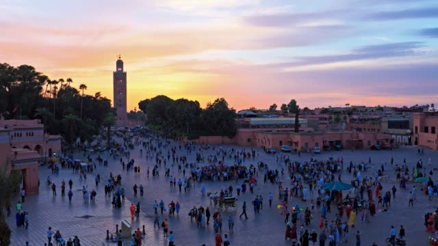 city view on marrakesh in morocco at sunset - souk video stock e b–roll