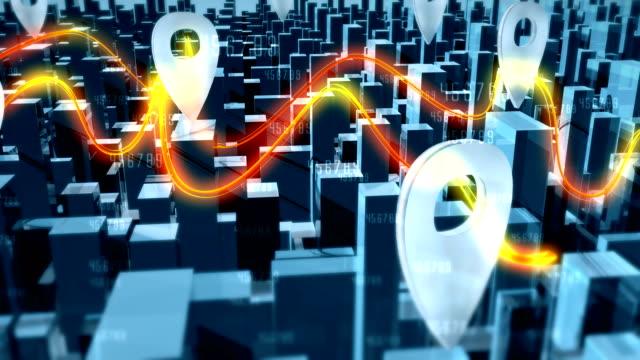 vidéos et rushes de paysage urbain et les connexions de réseau avec les rayons lumineux - épingle