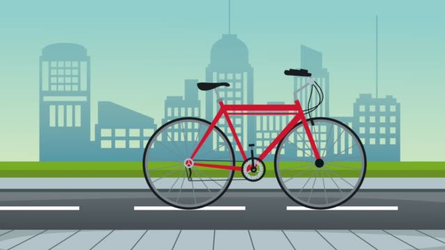 cityscape and road with bicycle animation video