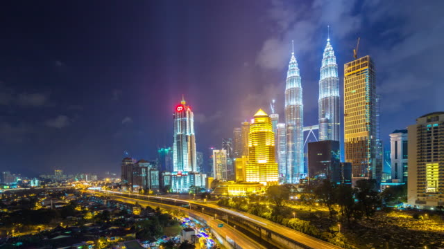 cityscape and skyline of kuala lumpur at night. time lapse video