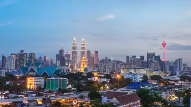 cityscape and skyline of kuala lumpur at sunset. time lapse video