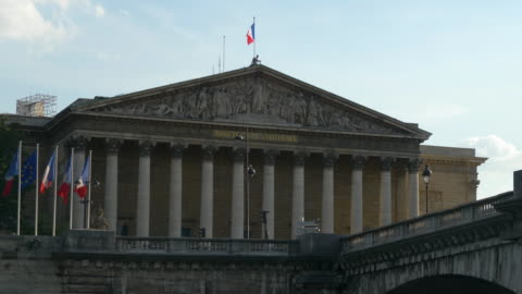 Cityscape - Assemblee Nationale in Paris Flags waving in Assemblee Nationale france stock videos & royalty-free footage
