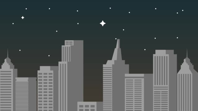 cityscape at night hd animation - città diffusa video stock e b–roll