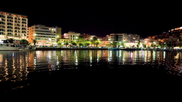 Cityscape Kavalla at night, Greece