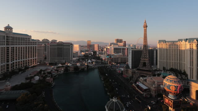 4K Cityscape Las Vegas Skyline Day to Night Time Lapse video