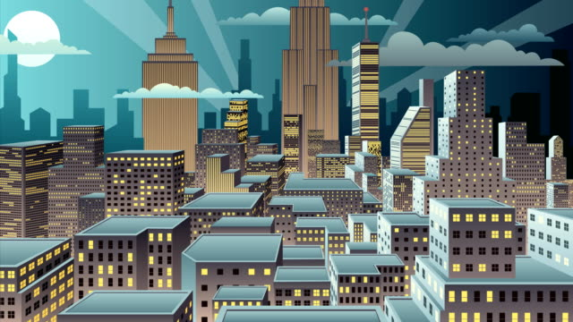 cityscape night - art deco architecture stock videos & royalty-free footage