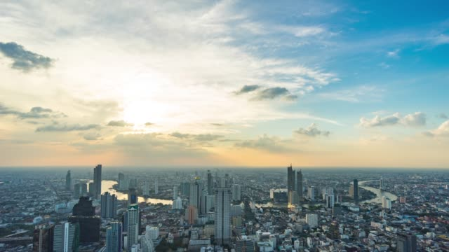 Cityscape of Bangkok City with Beautiful Curve of River, Thailand, Time Lapse Video Cityscape of Bangkok City with Beautiful Curve of River, Thailand, Time Lapse Video. Panning shot. bangkok stock videos & royalty-free footage