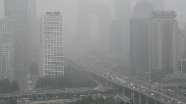 Cityscape of Beijing in air pollution video