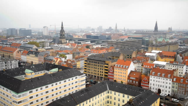 Cityscape of Copenhagen, Denmark in an autumn day video