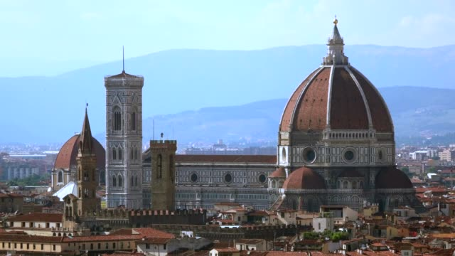 Cityscape of Florence, Italy Cityscape with the Duomo, Florence, Tuscany, Italy, Europe italian architecture stock videos & royalty-free footage