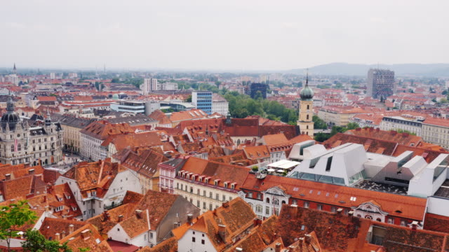Cityscape of Graz in Austria. A beautiful European city, a popular tourist destination Panorama of the city of Graz in Austria. A beautiful European city, a popular tourist destination. 4K video eastern europe stock videos & royalty-free footage