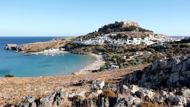 Cityscape of Lindos, Rhodes island, Greece video