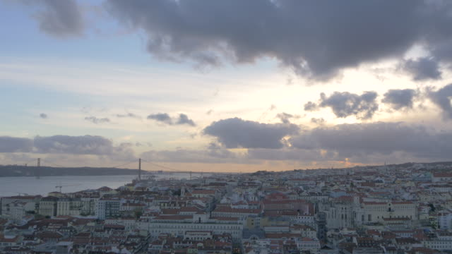 Cityscape of Lisbon with the 25 de Abril Bridge Cityscape of Lisbon with the 25 de Abril Bridge. ponte 25 de abril stock videos & royalty-free footage