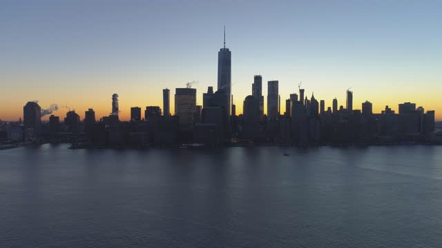 Cityscape of Lower Manhattan, New York at Sunrise. Aerial View. United States of America