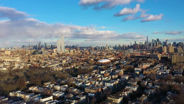Cityscape of Manhattan, New York on Sunny Day. Aerial View