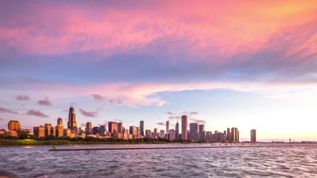 cityscape of modern city near water in cloud sky. time lapse cityscape of chicago and blue sea in cloud sky at sunset. time lapse 4k chicago stock videos & royalty-free footage