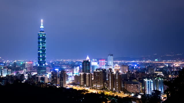 cityscape of modern city,taipei,time lapse video