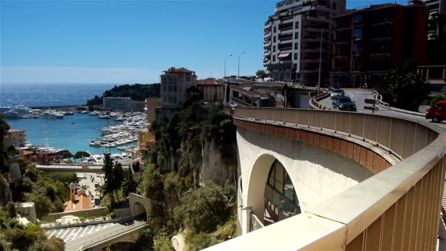 Cityscape of Monaco, Cote D'Azur France A scenic video shot of the wealthy city Monaco. A famous luxury cityscape at the Cote D'Azur in the south of France. monte carlo stock videos & royalty-free footage