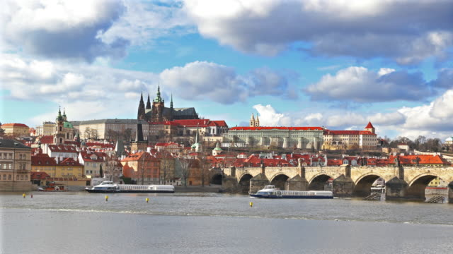 Cityscape of Prague with Charles bridge video