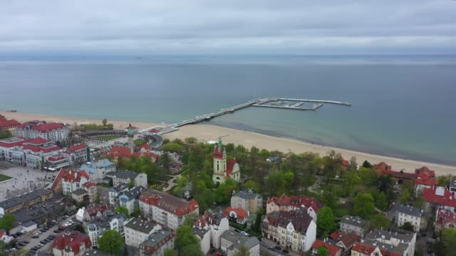 Cityscape of Sopot Aerial view of the cityscape of Sopot, Poland gdansk stock videos & royalty-free footage