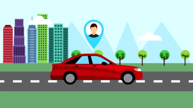 cityscape scene with taxi service video