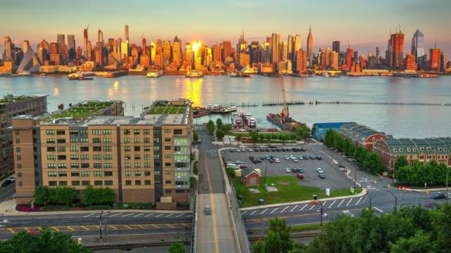 Cityscape skyscraper time lapse New York City Manhattan 2017 dusk video