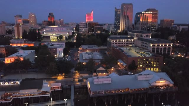 Cityscape Sunset View over Old Sacramento
