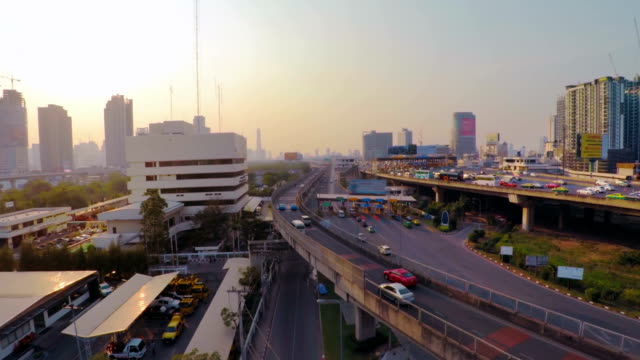Cityscape traffic and skyline Aerial video